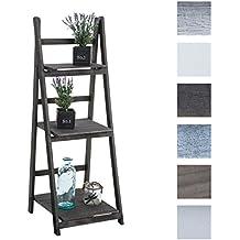 CLP Estanteriá en escalera de madera plegable YANA, uso en varios rincones de la casa, 3 áreas de almacenamiento con un espacio generoso castaño oscuro