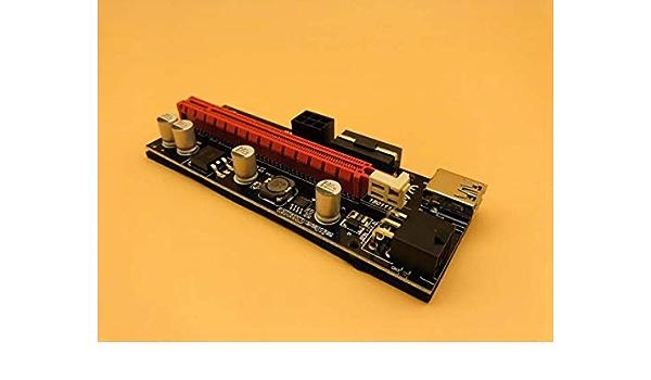 6pcs Ver009s Pci E Riser Card Dual Led 009s Pci Express 1x To 16x 0 6m Usb 3 0 Cable 6pin Molex Power For Bitcoin Miner Mining
