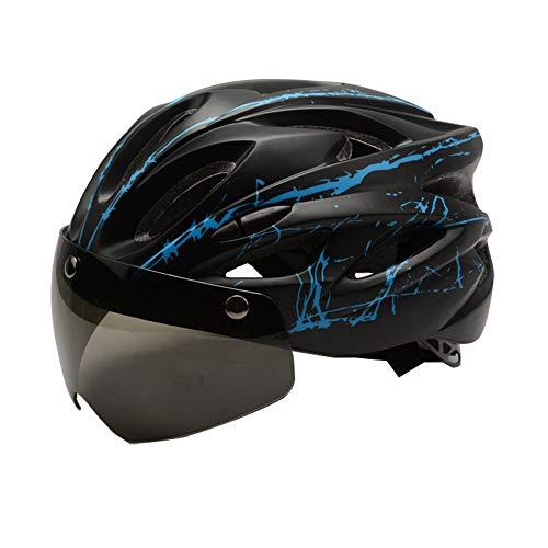 Ajboy Fahrradhelm mit magnetischem Saugnapf und Brille für Mountainbike, integrierter Helm für Männer und Frauen, Schwarzblau, 58 * 58CM