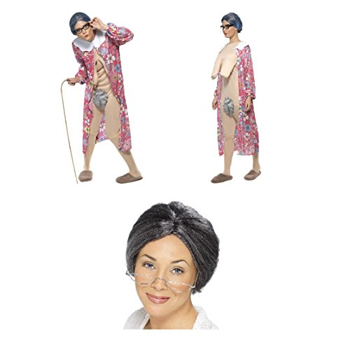 Womens Ladies Fancy Dress Hen Do Party Fun Granny Grandma OAP Gravity Saggy World Book Day Costume and Granny Wig Combo Set