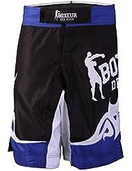 Boxeur Des Rues Fight Activewear Shorts para artes marciales mixtas MMA Logo y diseño de corazones azul turquesa Talla:Medium