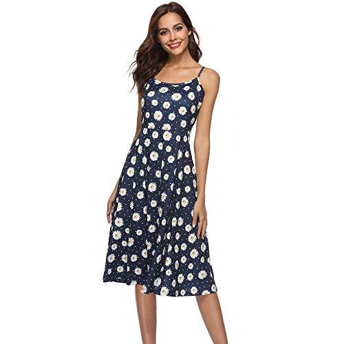 XuxMim Damen Spitzenkleid Herzform Elegant Abendkleider Cocktail Party Floral Kleid(Blau-1,X-Large) -