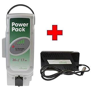 Akkuman.de Set E-Bike Vision Power Pack Ersatzakku für Panasonic Antriebsystem 36V 17Ah 612 Wh + 4A Ladegerät