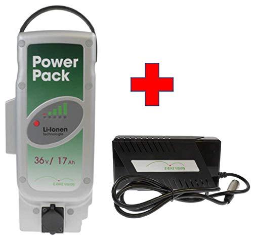 Akkuman.de Set E-Bike Vision Power Pack Ersatzakku für Panasonic Antriebsystem 36V 17Ah 612 Wh + 4A Ladegerät Panasonic Power Pack
