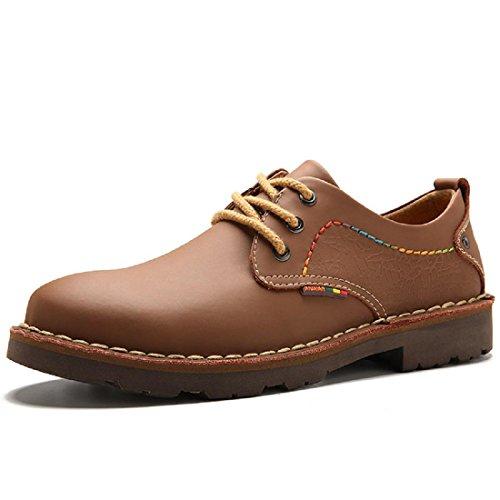 Uomo Spessore inferiore Scarpe di pelle Ballerine Martin stivali Scarpe da lavoro Antiscivolo Aumenta le scarpe euro DIMENSIONE 38-44 Brown