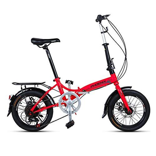 Yunyisujiao Klapprad 16 Zoll Männer Und Frauen Modelle Leichte Klapprad Fahrrad Erwachsene Mini Geschwindigkeit Auto Doppelscheibenbremse Klapprad (Color : Yellow, Size : 150 * 30 * 96CM)