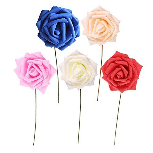 8cm 50pcs Schaum Rose künstliche Blume für Hochzeit Dekoration DIY Handwerk Kranz Geschenk Dekor gefälschte Blume Scrapbooking (jeweils 10 klar rosa, milchig weiß, rot, Champagner, Royal Blue)