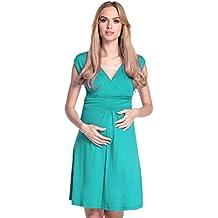 0e128f0a848402 Happy Mama Damen Umstandskleid Ausgestellter Schnitt Sommerkleid Gr. 36-46  256p
