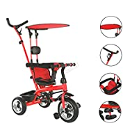FOXHUNTER Baby Kids 4in1 Tricycle Ride on Bike Push Along Trike Buggy Stroller Adjustable Seat 3 Wheels Removable Canopy FH-KT01 RED