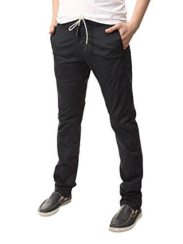 Homme pantalon jogging Sarouel tissu fin en coton taille élastique pour l'été 4 coloris Noir