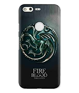 Google Pixel Fire And Blood Targaryen Writing And Dragon Logo Printed Back Cover Hybrid Strong Polycarbonate Hard Case Cover With Premium Quality and Matte Finish by Print Vale