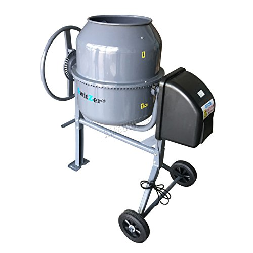 SwitZer 240V Volt 550W Portable Electric Concrete Cement Mixer Mortar Plaster Machine Capacity 120L Litre Drum Mouth Diameter 340mm