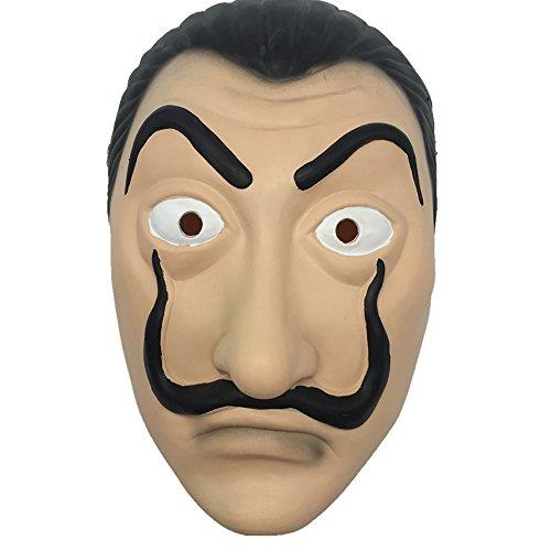 atex Maske Salvador Dali Gesichtsmaske La Casa De Papel Wimperntusche Realistische Prop Gesichtsmaske Neuheit Cosplay Kostüm Party Maske (Einfache Halloween Kostüme Für Männer)