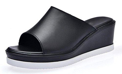 Été à talons hauts sandales et pantoufles pente sandales et pantoufles confortables avec des sandales à fond épais gâteau femme Shisong glisser femme Black