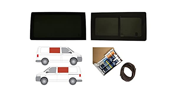 Van Demon LH Sliding Door and RH Side Panel Fixed Dark Tint Window Glass with Adhesive Kit VOY1702#KIT2