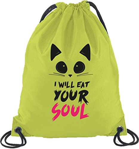 Shirtstreet24, Halloween - I Will Eat Your Soul, Turnbeutel Rucksack Sport Beutel Limone