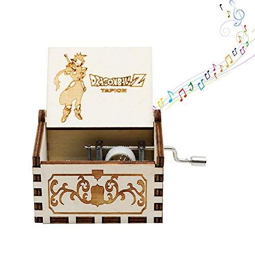 Mini caja de música de manivela para mujer, diseño de piratas del Caribe – Caja de música de madera envejecida tallada para bebés, niños pequeños, cumpleaños, regalo de Navidad (4 temas) Dragon Ball