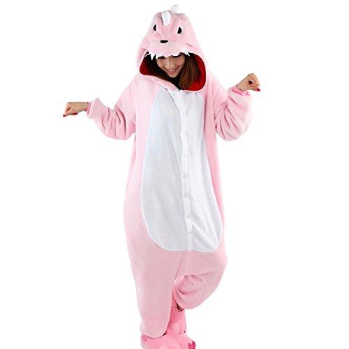Aivtalk Unisex Tierkostüme Pyjamas Flanell Schlafanzug Nachtwäsche Kostüme für Fasching Kinderparty Karneval Beste Geschenk zum Weihnachten - Rosa Dinosaurier Größe L (Dinosaurier-nachtwäsche)