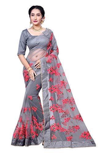Sunshine Fashion Women\'s Mono Net Saree With Blouse Peice (Grey_FreeSize)