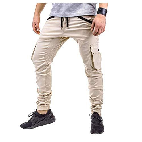 männer nehmen Sport gesponnene Taschen nähende Fuß Hosen ab Fashion Personality Casual Sports Pants Woven Pocket Stitching Trousers Khaki Beige Schwarz Grau Navy M/L/XL/XXL/3xL (35 Stricknadeln Größe Us)