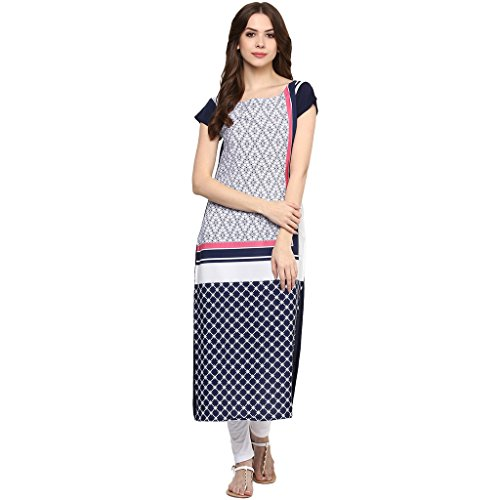 Ziyaa Multicoloured Boat Neck With Cap Sleeve Faux Crepe Digital Print Kurti  available at amazon for Rs.379