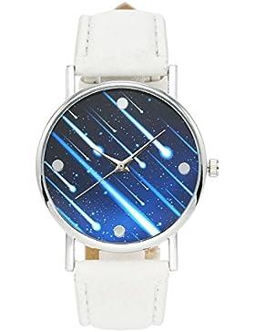 JSDDE Fashion Armbanduhr Meteor Muster Zeitloses Design Silber Analog Quarzuhr Lederarmband Kleid Uhren,Weiß