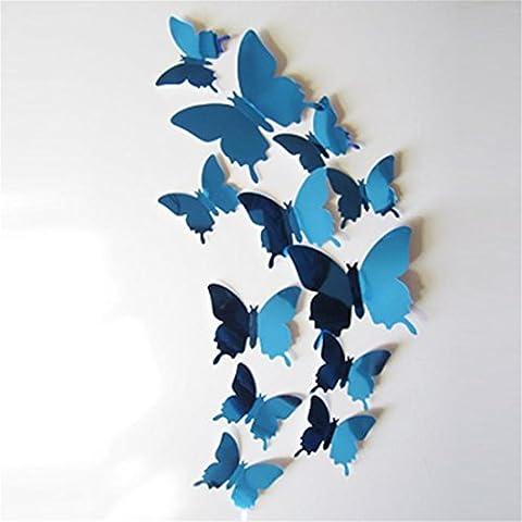 Stickers muraux Brezeh 3d papier mural Superbe Super Bon Marché Stickers muraux Papillons 3d Miroir Mur Art Home décors Bleu