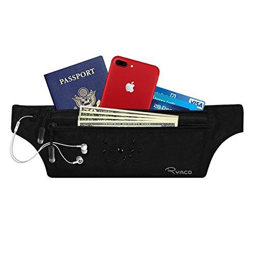 RYACO Cintura Portasoldi Nascosta RFID, Marsupio da Viaggio Invisibile per Uomo e Donna, Portadocumenti Impermeabile Discreto Piccolo Sottile Nascosto per Contanti, Passaporti, Carte e Telefono, Nero