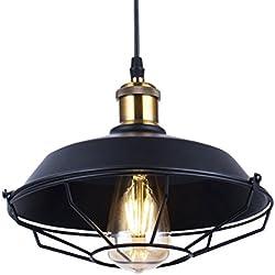 Iluminación Colgante Vintage Bombilla Tipo Edison E27 Lámpara Colgante Forma de Tazón Industrial Luz Jaula de Granero Náutica Montado Lámpara de Techo en Cobre,Alambre de 4.92 Pies/1.5m Ajustable