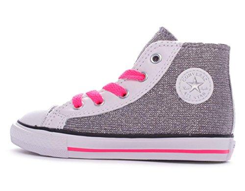 Converse Chuck Taylor All Star Hi Side Zip Textile Glitter bambina, pelle liscia, sneaker alta Silver Sparkle Knit