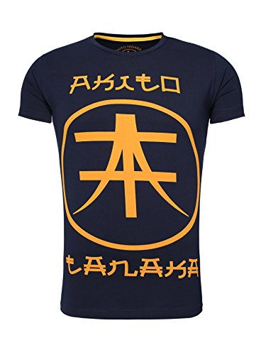 Akito Tanaka Herren T-Shirt Printshirt Männer Rundhals Logoshirt Aufdruck Navy