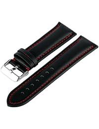 MARCHEL pulsera de piel LR10Negro Rojo 22XL mm Reloj Reloj de pulsera banda reloj elásticas