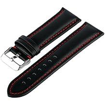MARCHEL LR10de piel correa para reloj negro rojo 22mm