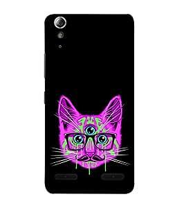 PrintVisa Designer Back Case Cover for Lenovo A6000 Plus :: Lenovo A6000+ :: Lenovo A6000 (Little Pussy Cat Three Eyes Spetacles Mustache )