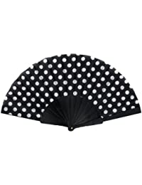 Éventail à la main Eventail accessoire danse flamenco fan fan fan de poche dentelle couleur soirée fête mariage:FAE-10 noir blanc