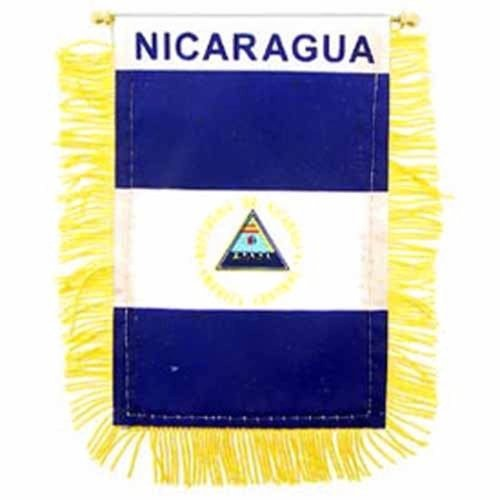 Nicaragua Mini Banner Flag Poly 3In X 5In by Flag