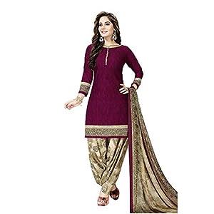 Anni Designer Women's Leon Crepe Printed Unstitched Patiyala Dress Material (POOJA MASTI_Free Size)