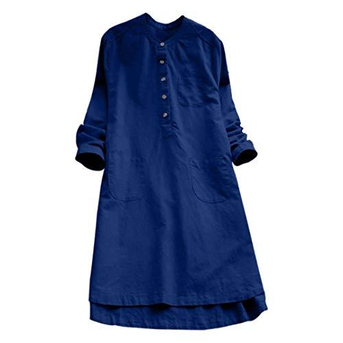 Kanpola Damen Kleider Mini Langarm Kalte Tunic Loose Casual T-Shirt Kleid mit Taschen