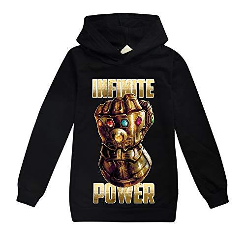 Damrg Thanos Handschuh Kapuzenpullover Für Kinder, Avengers Endgame Superheld Quantum 3D Hoodie/Kapuzenpulli/Kapuzenjacke/Sweatshirt Pullover Für Mädchen Jungen Black-5T6T (Black Star Cosplay Kostüm)