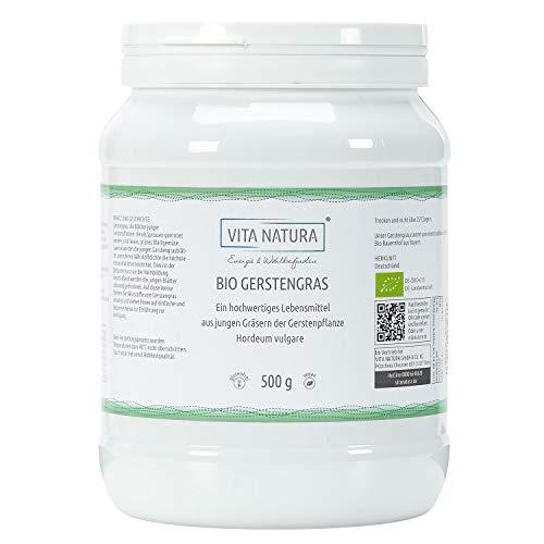 Vita Natura Gerstengras-Pulver Bio, 100% rein aus Deutschland 1er Pack (1 x 500 g) ...