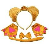 TOYANDONA 3-teiliges Löwen-Haarband-Set mit Löwen-Ohrenschwanz, Krawatte, Handschuhe, Kinder-Party-Zubehör
