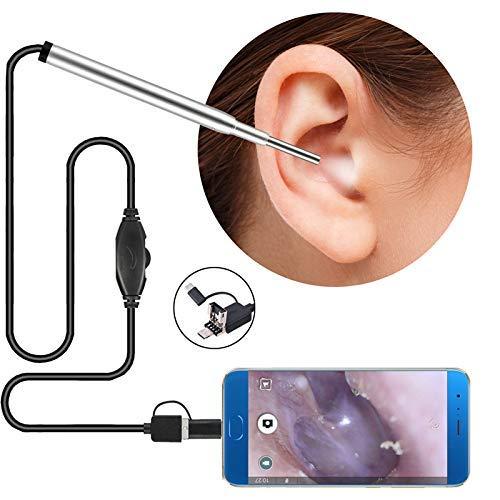 Reinigung Endoskop 1Megapixel HD Kamera Entferner Werkzeug, Wasserdicht, Mit 6 Verstellbarem LED-Licht Endoskop Ohr Pick Löffel Fauay ()