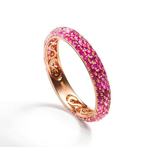 de0f84277b1a AnaZoz (Tamaño Personalizado) 18K Oro Joyas Anillo Diamante Anillo Mujer  Anillo Rubí Piedras Preciosas Redondo Anillo de Diamant