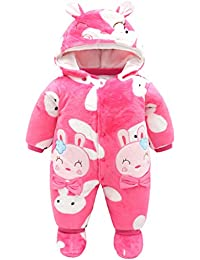 Bebé Ropa de Invierno Mameluco con Botines Fleece Traje de Nieve con Capucha Grueso Trajes 0-12 Meses