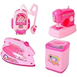 IndusBay Kitchen And Household Utility Toy Set For Kids Working Household Appliances Set (Washing Machine, Iron, Sewing Machine,Vacuum Cleaner) With Light & Sound For Girls