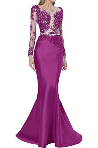Promgirl House Damen Luxus Etui Mermaid Spitze Abendkleider Ballkleider Hochzeitskleider Lang mit Aermel Fuchsia
