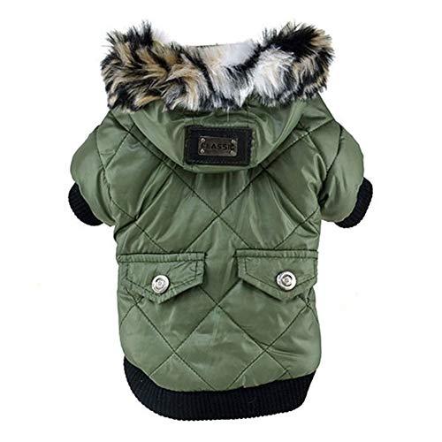 AMURAO Winter Hund Kleidung,Welpen Niedlichen Warmen Mantel Faux Taschen Pelz getrimmt Hund Hoodies Jacke Kostüm -
