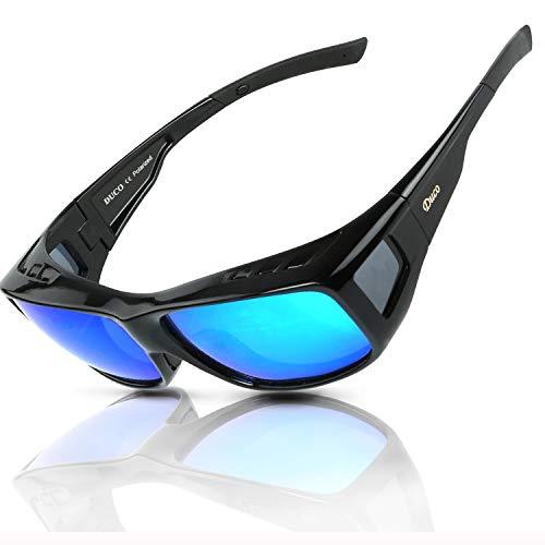 Duco Herren und Damen Sonnenbrillen Polarisiert Unisex Brille Überbrille für Brillenträger Fit-over Polbrille 8954 L-Schwarz, Revo Blau (Ersatz-gläser Für Die Sonnenbrille)
