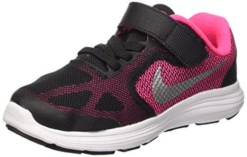 Nike Revolution 3 (Psv), Baskets Basses Fille Noir (Black/mtllc Slvr-hypr Pnk-wht)