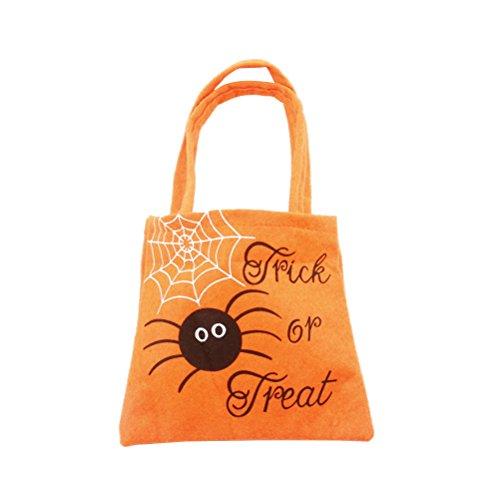 Tinksky Süßes sonst gibt's Saures Taschen Happy Halloween Süßigkeiten Handtasche Non-Woven Stoff Kinder Geschenk Taschen (Orange Spider)
